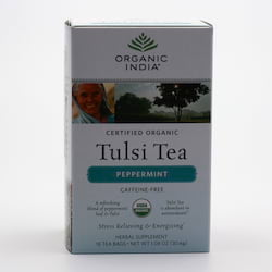 Organic India Čaj Tulsi Peppermint, porcovaný 18 ks, 30,6 g